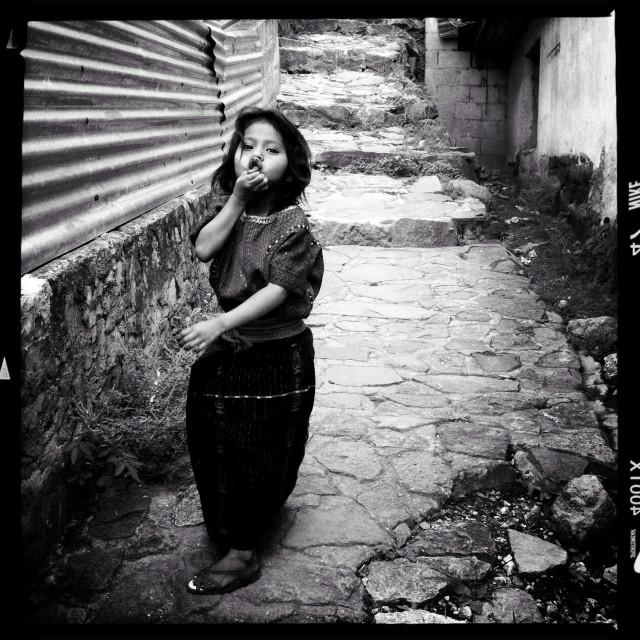 """A maya indigenous girl in San Antonio Palopo, Solola, Guatemala."" stock image"