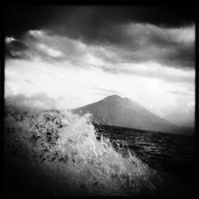 """Scene from the boat on Lake Atitlan in Guatemala."" stock image"