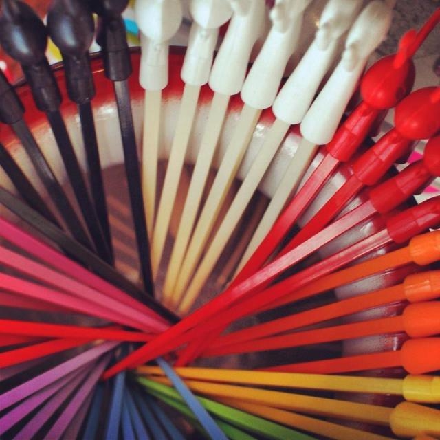 """Coloured Chopsticks"" stock image"