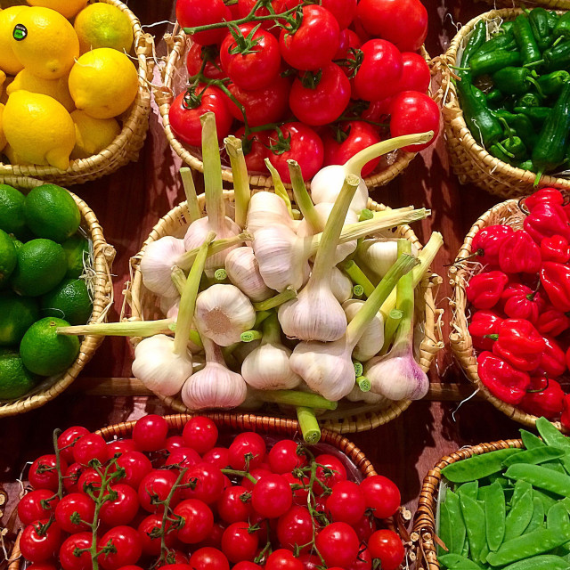 """""""Healthy Fruits and vegetables in market stall"""" stock image"""