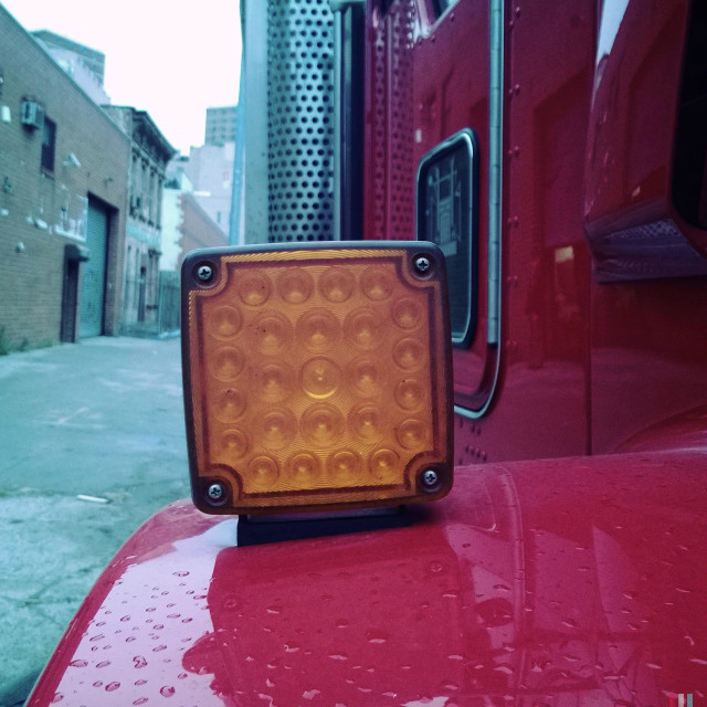 """""""Turn signals—directional indicators of a truck parked at industrial area in Brooklyn NY"""" stock image"""