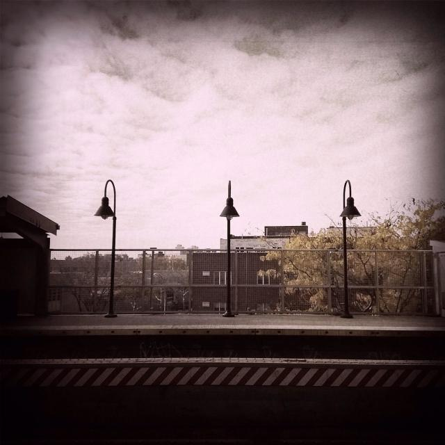 """Empty platform at Lorimer subway station in Brooklyn NY"" stock image"