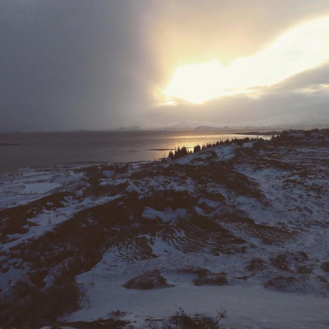 """Iceland Eurasia meets America"" stock image"
