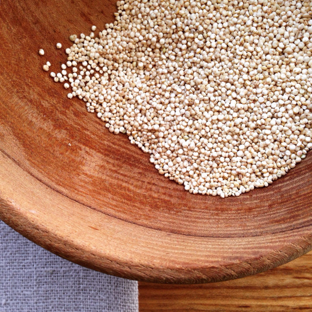 """Quinoa in wood bowl"" stock image"