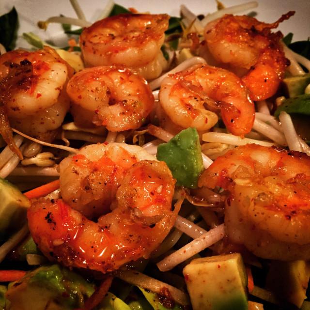 """""""Hawaiian BAR-B-CUE shrimp salad with mung bean sprouts, and avocado"""" stock image"""