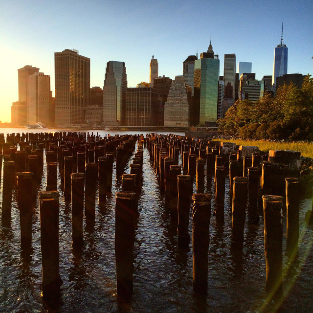 """View of Manhattan from Brooklyn Bridge Park"" stock image"