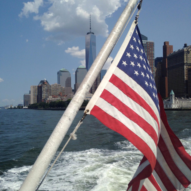 """Lower Manhattan from Ellis Island Ferry"" stock image"