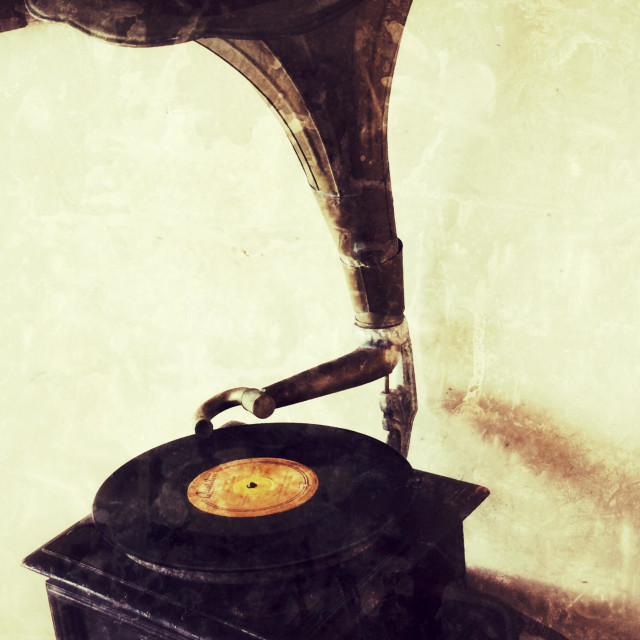 """""""Old fashion, retro gramophone with brass horn."""" stock image"""