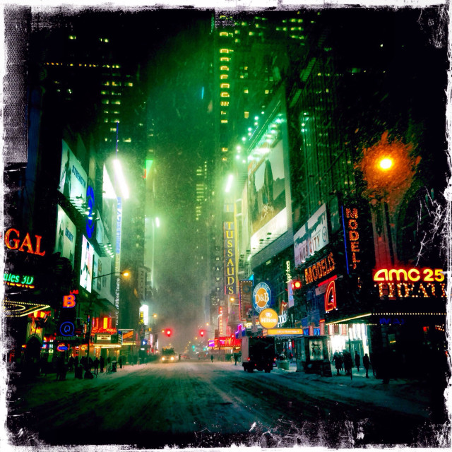 """Times Square and 42nd Street in the Snow"" stock image"
