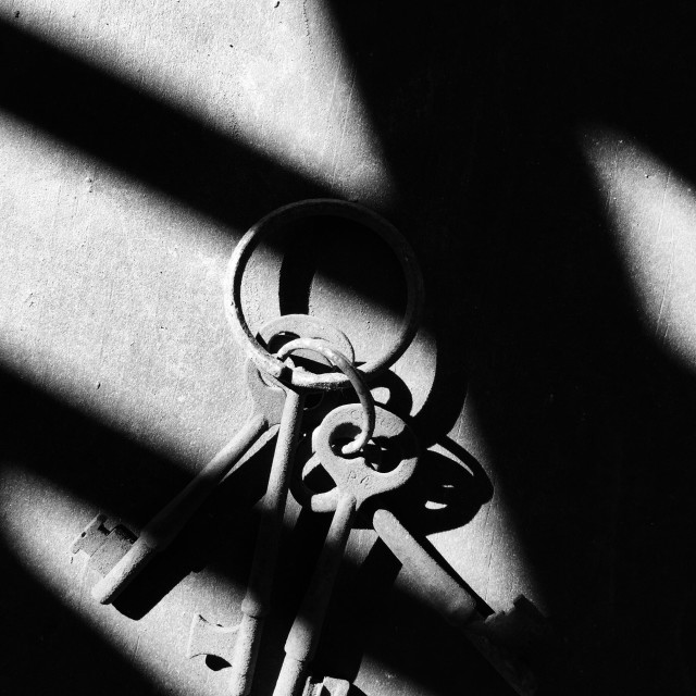 """Antique keys on a key ring."" stock image"