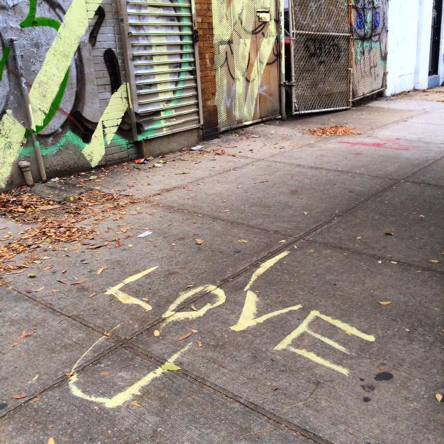 """I Love You, graffiti on the Sidewalk"" stock image"