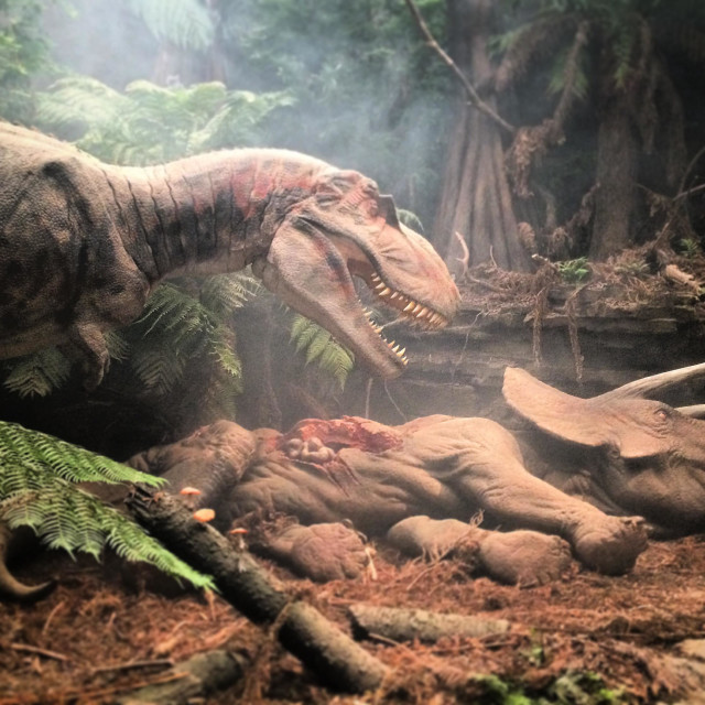 """""""Dinosaur exhibit at the Eden project in Cornwall in summer 2014"""" stock image"""