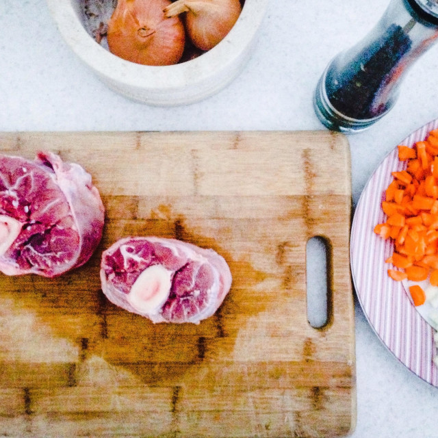 """""""Preparation of veal shank meal"""" stock image"""
