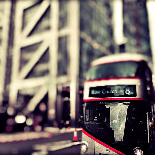 """Routemaster bus in Central London, UK"" stock image"