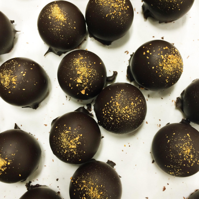 """Vegan artisan chocolate truffles."" stock image"