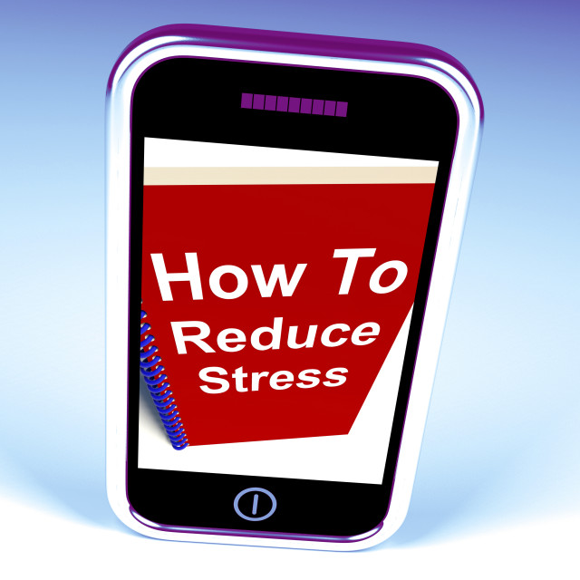 """How to Reduce Stress Phone on Notebook Shows Reducing Tension"" stock image"