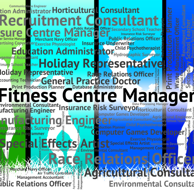 """""""Fitness Centre Manager Means Jobs Position And Hiring"""" stock image"""