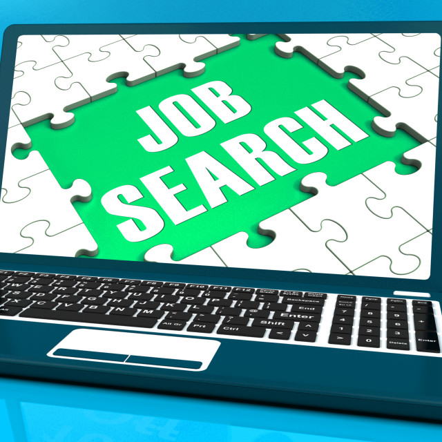 """""""Job Search On Laptop Shows Online Recruitment"""" stock image"""