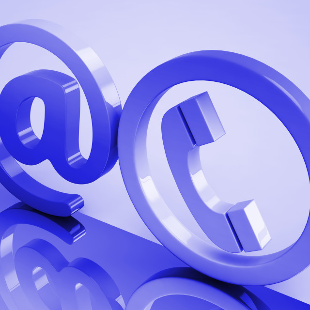 """""""At Phone Sign Means E-mail And Telephone"""" stock image"""
