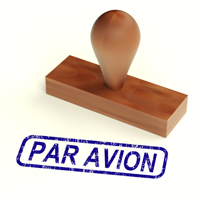 """""""Par Avion Rubber Stamp Shows Correspondence Overseas By Airplane"""" stock image"""