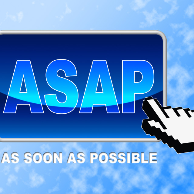 """Asap Button Represents Web Site And Cursor"" stock image"