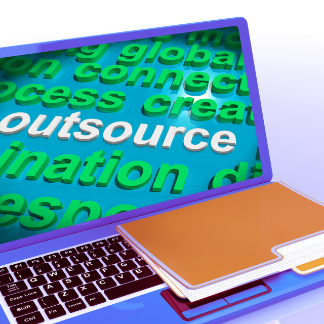 """Outsource Word Cloud Laptop Shows Subcontract And Freelance"" stock image"