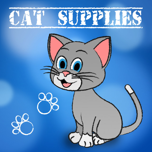 """""""Cat Supplies Indicates Puss Products And Goods"""" stock image"""