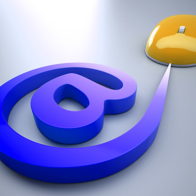 """""""Mouse At Sign Shows E-mail Symbol Message"""" stock image"""