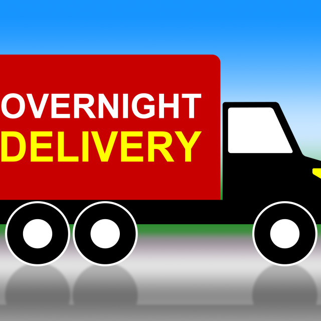 """""""Delivery Overnight Represents Next Day And Transportation"""" stock image"""