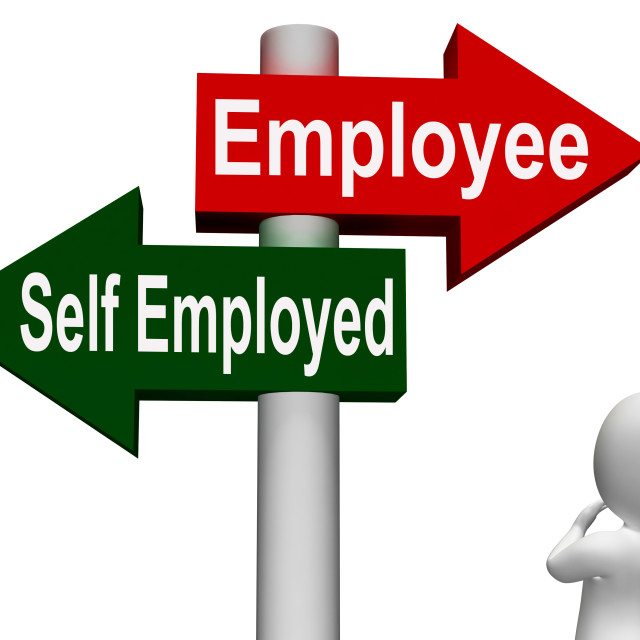 """""""Employee Self Employed Signpost Means Choose Career Job Choice"""" stock image"""
