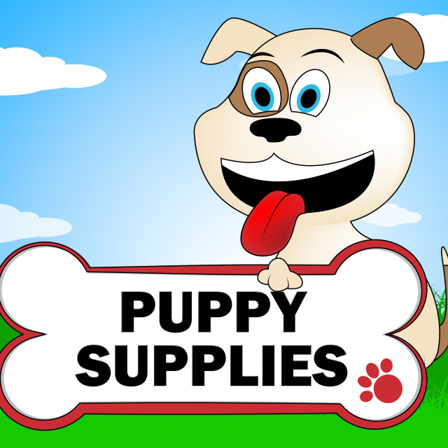 """""""Puppy Supplies Indicates Canines Canine And Merchandise"""" stock image"""