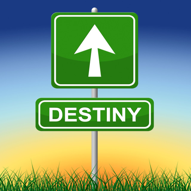 """""""Destiny Sign Means Future Pointing And Arrows"""" stock image"""