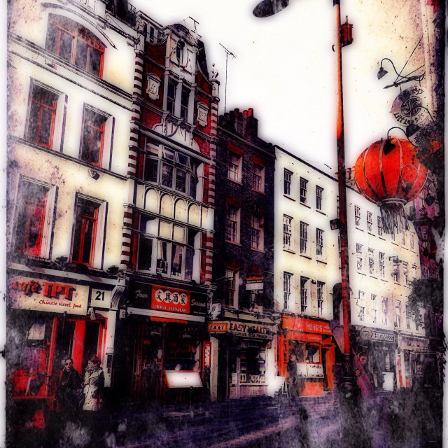 """Chinatown street scene, Central London, UK"" stock image"