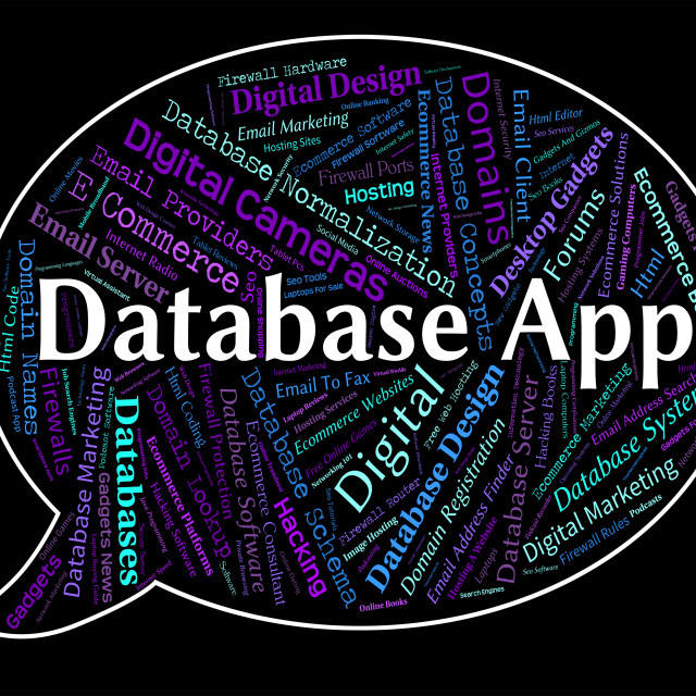 """""""Database App Means Text Apps And Application"""" stock image"""