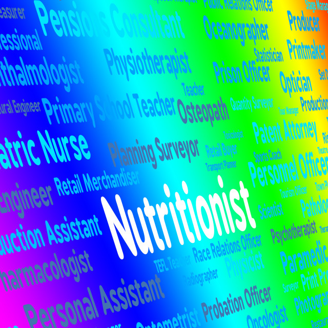 """Nutritionist Job Indicates Position Words And Experts"" stock image"