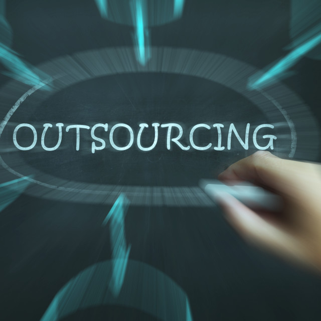 """Outsourcing Diagram Means Freelance Workers And Contractors"" stock image"