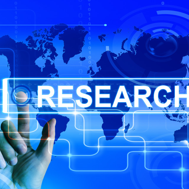 """""""Research Map Displays Internet Researcher or Experimental Analyzing"""" stock image"""