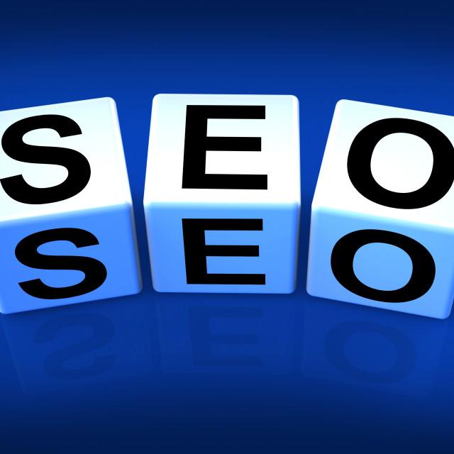 """SEO Blocks Represent Search Engine Optimization Online"" stock image"
