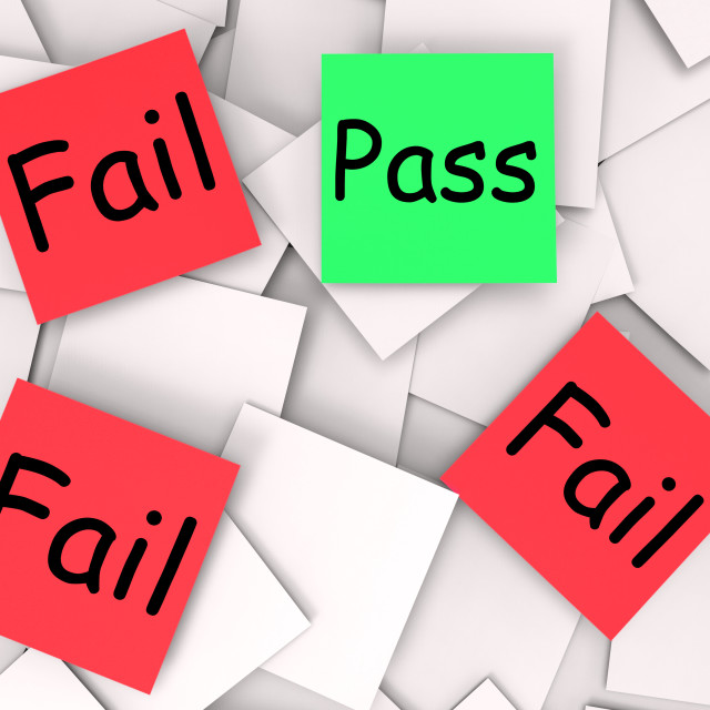 """""""Pass Fail Post-It Notes Mean Approved Or Unsuccessful"""" stock image"""