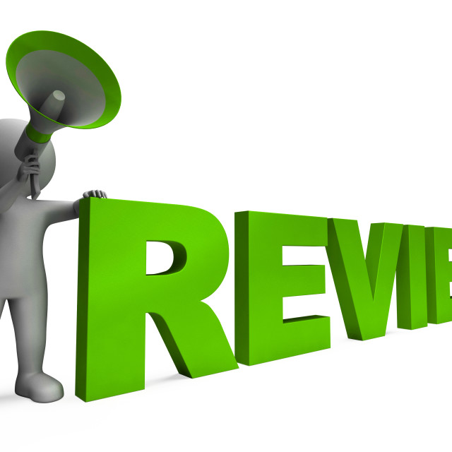 """Review Character Shows Assessing Evaluating Evaluate And Reviews"" stock image"