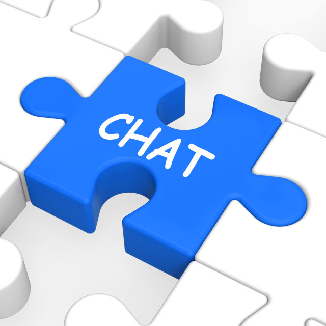 """Chat Jigsaw Shows Talking Typing Or Texting"" stock image"