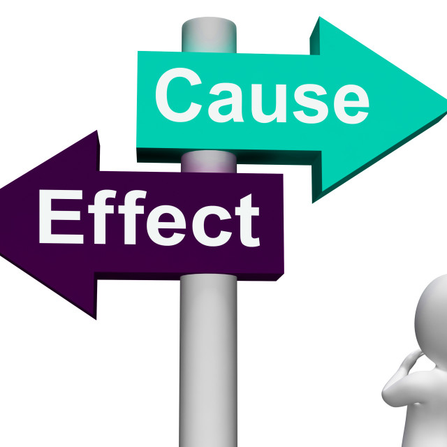 """""""Cause Effect Signpost Means Consequence Action Or Reaction"""" stock image"""