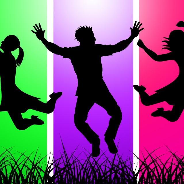 """""""Excitement Jumping Indicates Green Grass And Excited"""" stock image"""