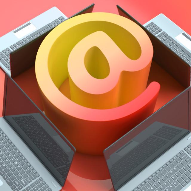 """E-mail Symbol Laptops Shows Online Mailing Communication"" stock image"