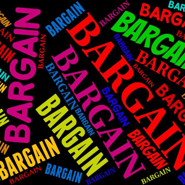 """""""Bargain Word Represents Sale Text And Words"""" stock image"""
