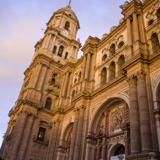 """Malaga Cathedral at sunset"" stock image"