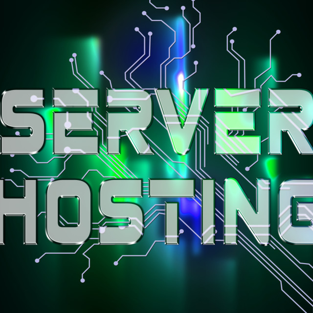 """""""Server Hosting Means Computer Servers And Connectivity"""" stock image"""