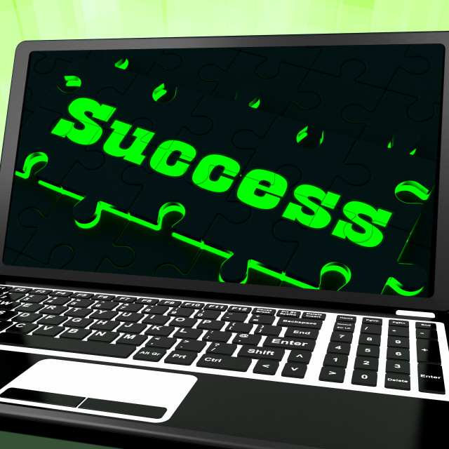 """""""Success On Laptop Showing Solutions"""" stock image"""