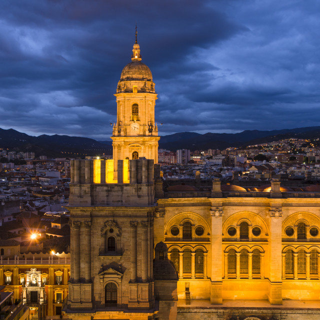 """Malaga Cathedral at night"" stock image"