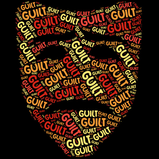 """""""Guilt Word Shows Feels Guilty And Conscience"""" stock image"""